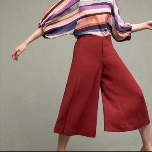 Anthropologie Pants - Anthro The Essential Cullote Red Trousers Size 12